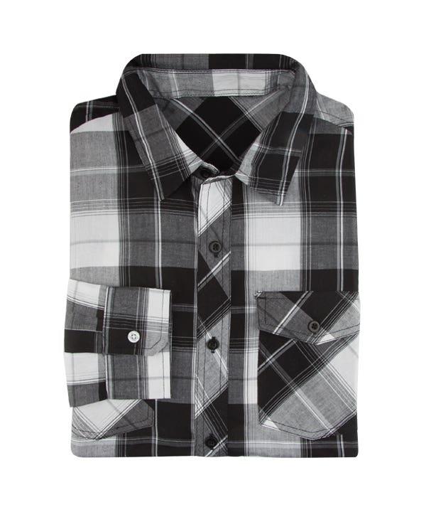 Men Casual Slim Fit Long Sleeve Shirt 2016 Oxford White Black Plaid