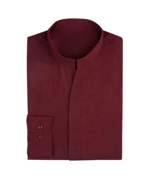 Men's Stand-Up Collar Long Sleeve Shirt